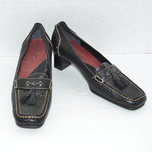Aerosoles Black Pebbled Leather Heels Pumps 8.5